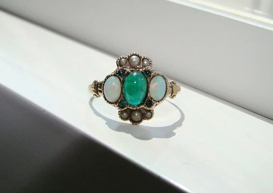 Reserved For N Antique Emerald Opal Pearl Ring Gemstone