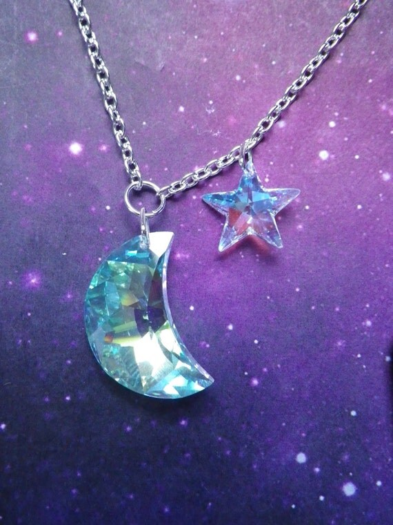 Swarovski Crystal Moon And Star Necklace