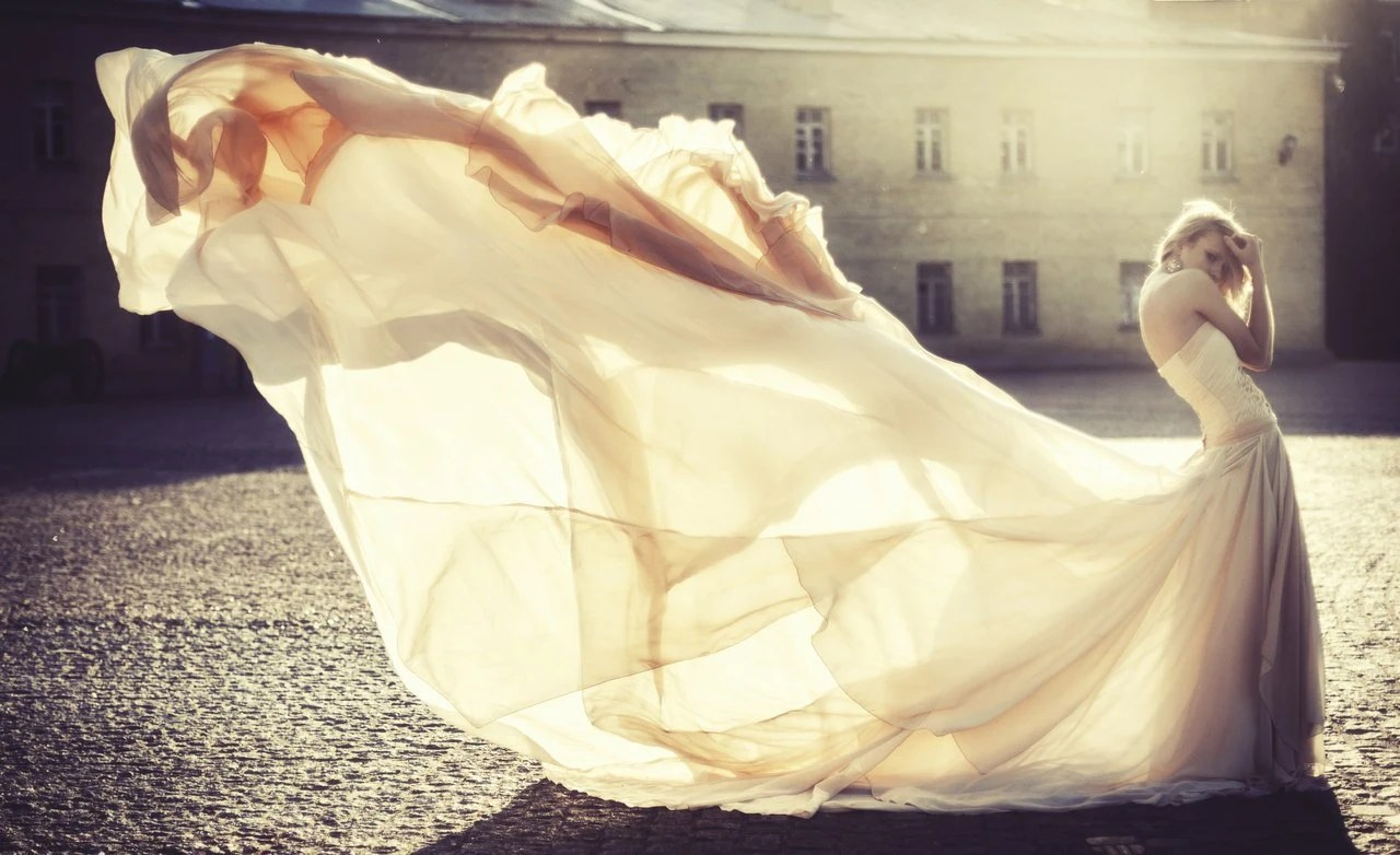 Long Wedding Dress With Very Long Puddle Train By