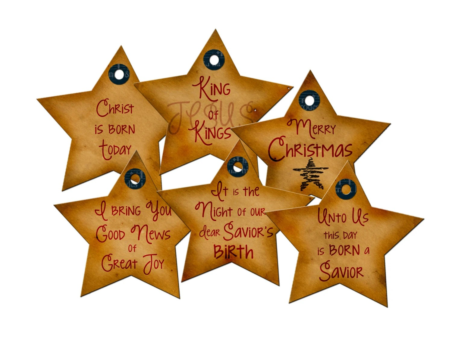 Printable Christmas Tags Star Rustic Primitive Religious