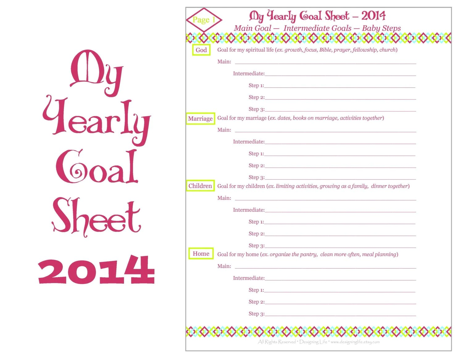 Yearly Goal Setting Printable Worksheets By Designinglife