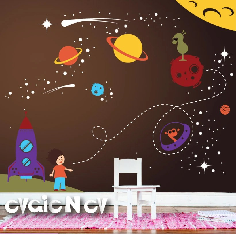 Outer Space Wall Decals Boys Wall Decals Space Wall By