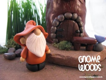 Handmade polymer clay gnome by Jennifer Jeffs of Gnome Woods
