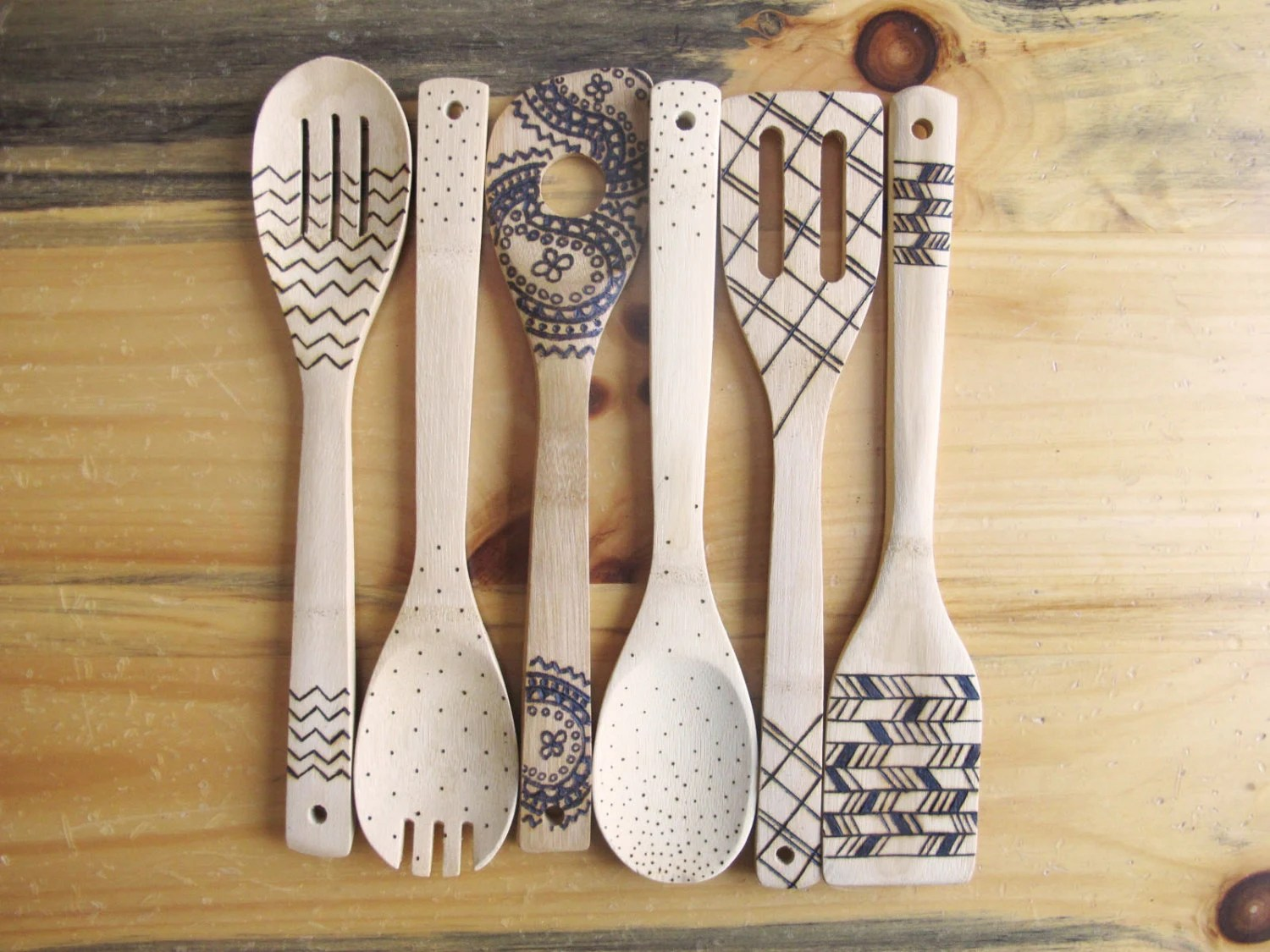 Wood Burned Kitchen Utensils Bamboo Wooden Spoons By
