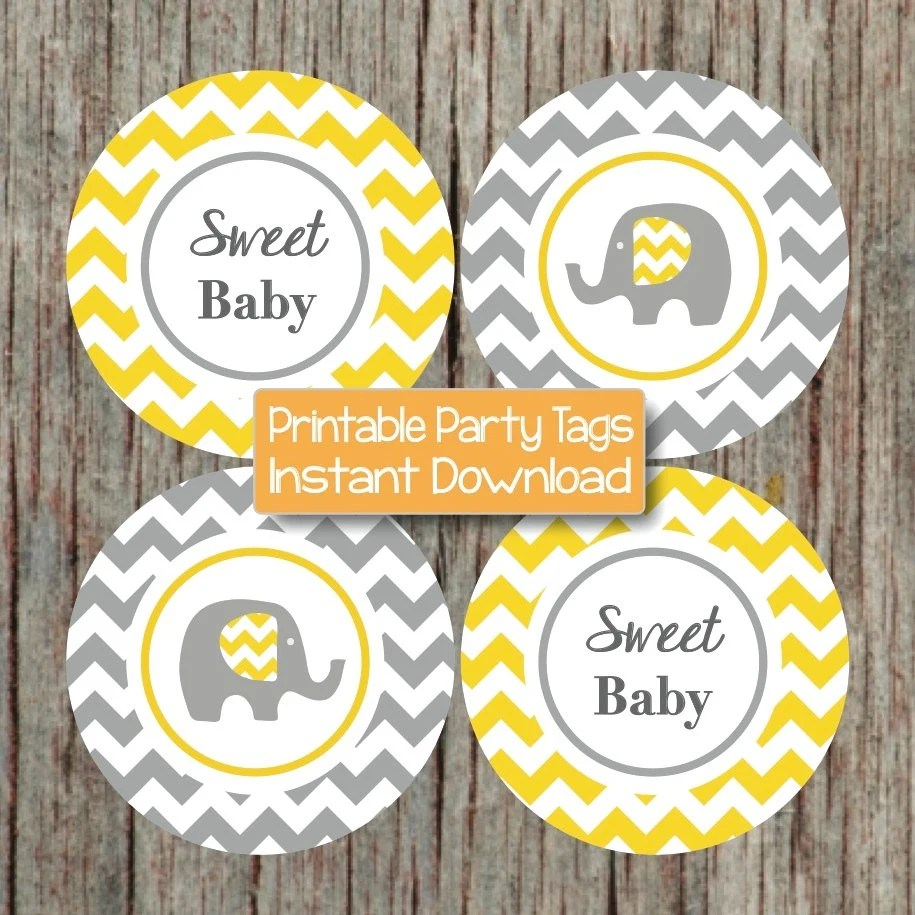 Decorations Yellow Elephant Baby And Grey Shower