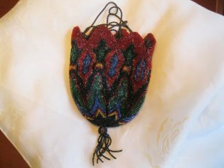 1800's Antique Multi-Colored Beaded Reticule Purse Made in GERMANY
