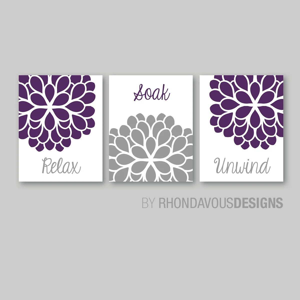 bathroom decor bathroom art relax soak unwind flower