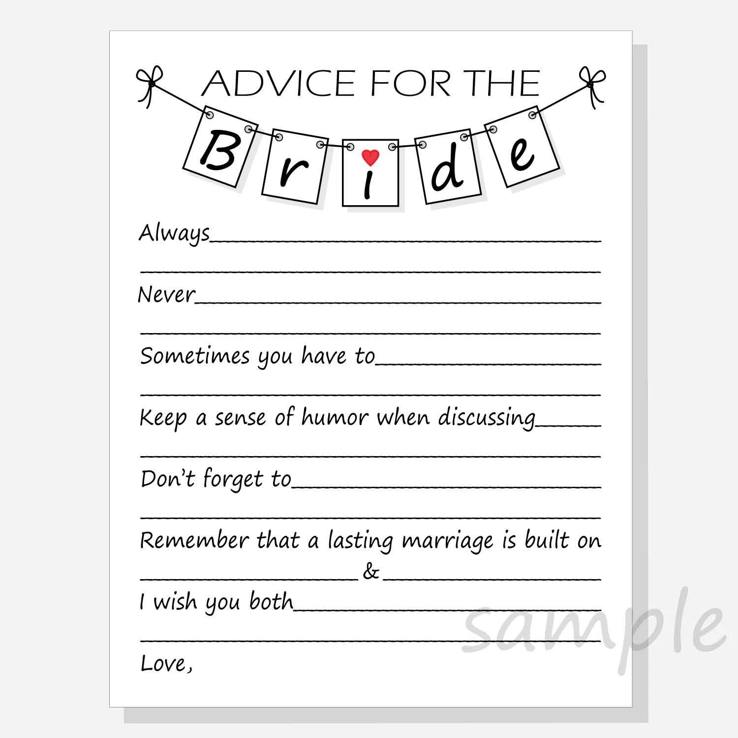 Diy Advice For The Bride Printable Cards For A Bridal Shower