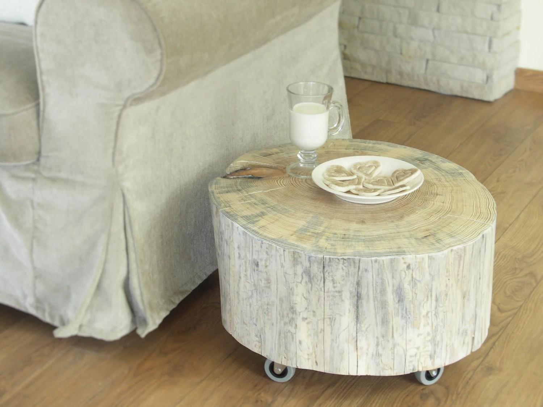 Tree Trunk Side Table Scandinavian Style White Wooden Stump