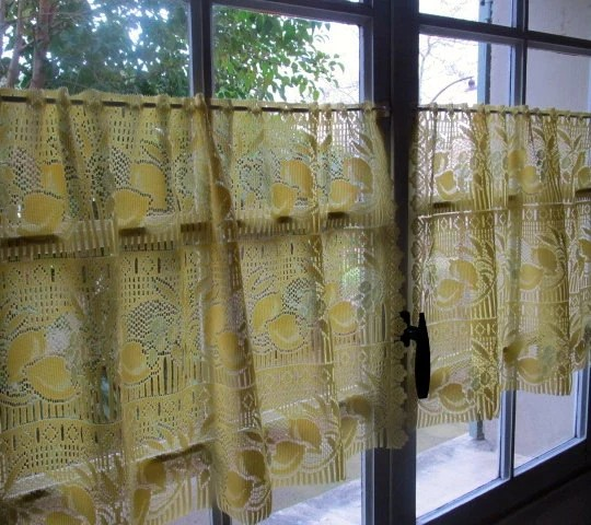 Yellow Cafe Curtains Pair Lemon Lace Curtains Sheer