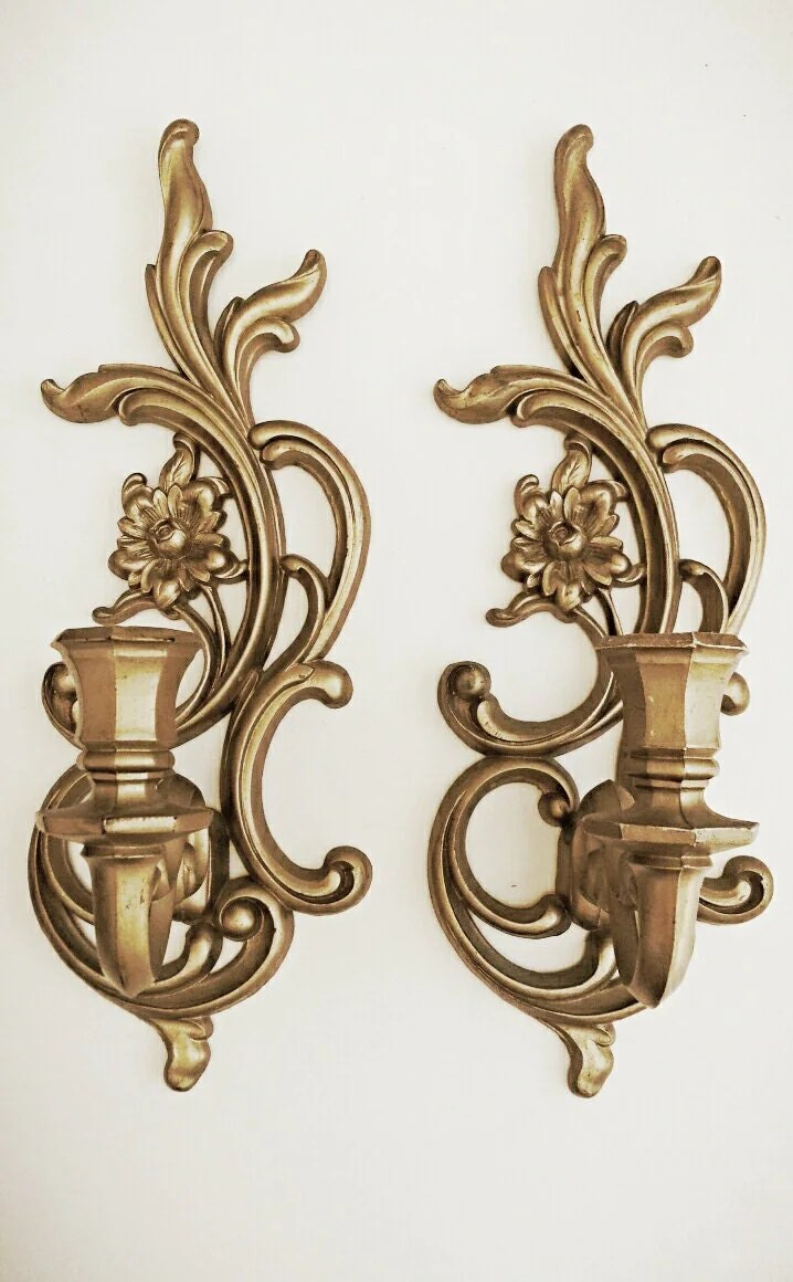 Vintage Gold Wall Sconces Hanging Candle by HingeModernVintage on Wall Sconces Candle Holders id=60996