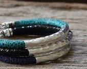 Hammered Silver Leather Bangle Bracelet / Colorful Teal Blue Dark Black / Animal Print Safari / Boho Bohemian Thick Tribal Stacking Bracelet