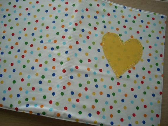ann kelle remix multi dot folder cover with heart applique - FREE SHIPPING