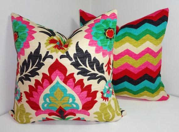Pillow Cover Set Waverly Santa Maria Desert Flower & Panama Wave Pillow Covers Decorative Pillow 18x18