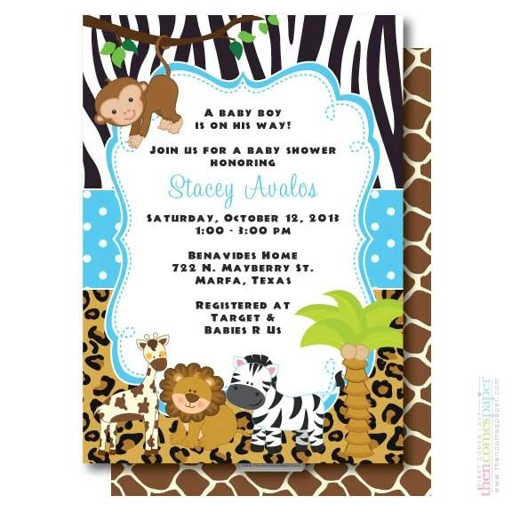 Baby Shower Invitations Zoo Jungle Animals
