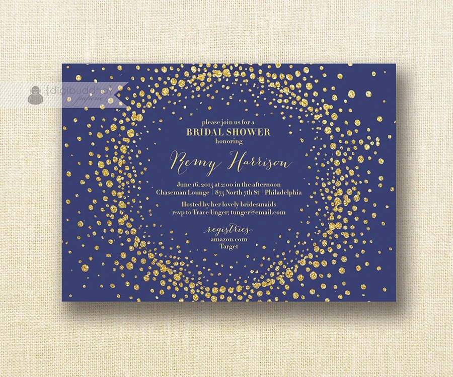 Navy Wedding Shower Invitations