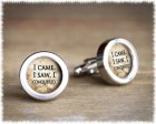 Julius Caesar Quote Cufflinks - I Conquered Cufflinks - Men's Anniversary Gift