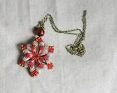 Red Flower Necklace / Beaded Fiber Pendant / Long Boho Necklace / Macramé Jewelry / Modern Geometric Fashion - UtilartMacrame