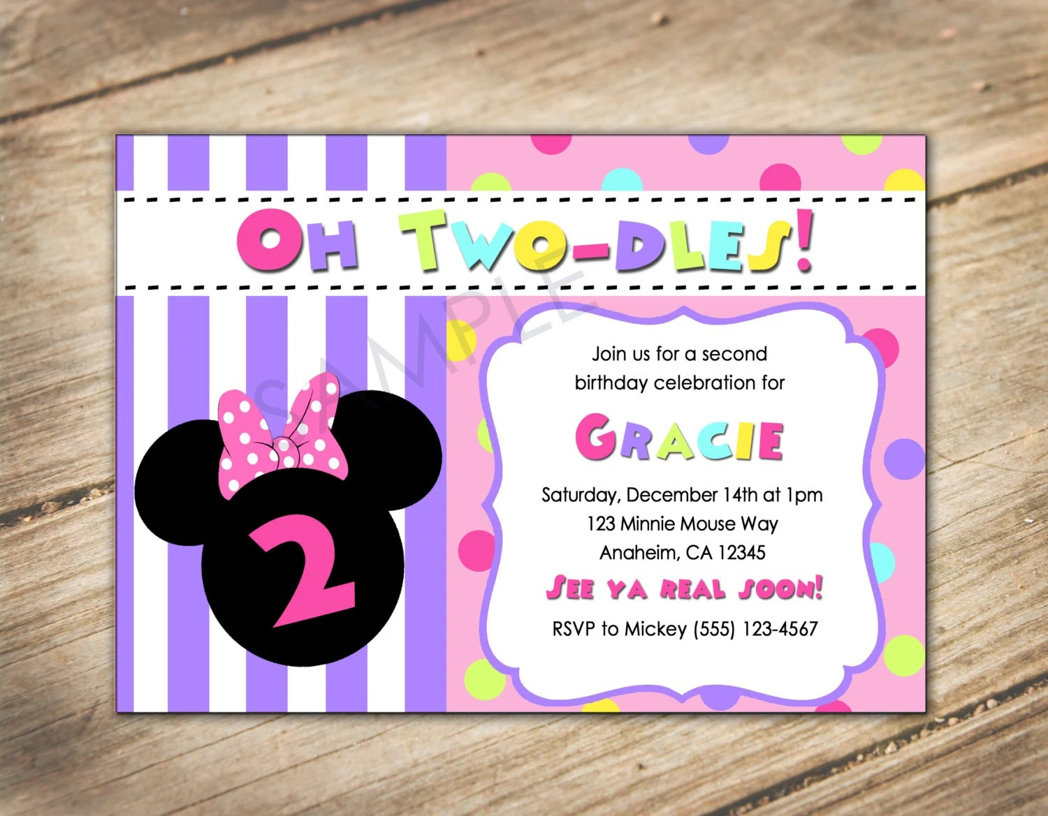 Oh Two Dles 2nd Birthday Minnie Mouse Disney Theme