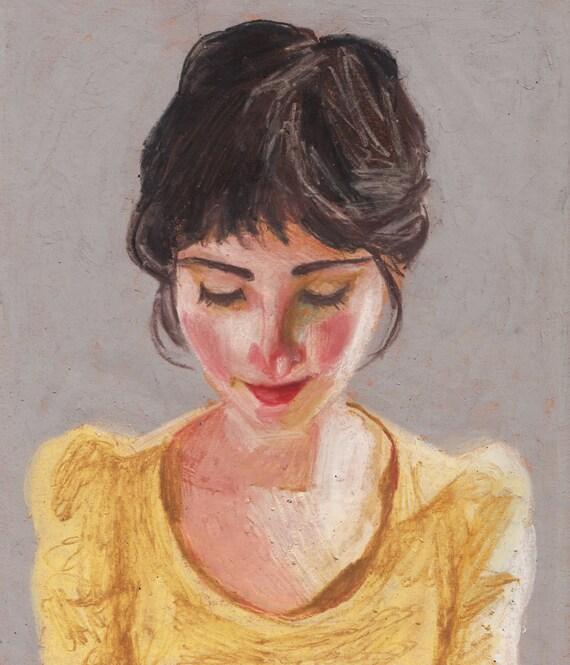 Portrait ORIGINAL DRAWING Naomi Pastel Drawing Illustration