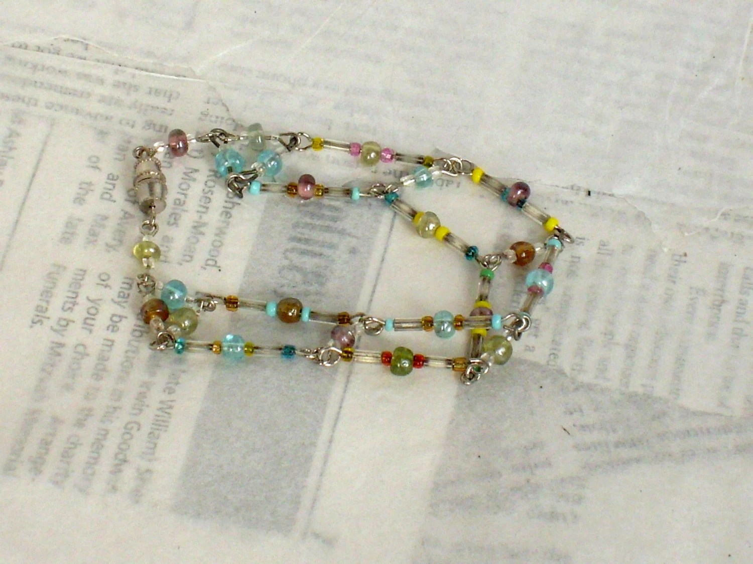 Beaded Bracelet, Multi Color Wire Bracelet - whimsiclecreations