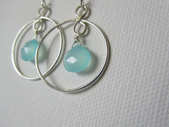 Sterling Silver and Chalcedony Circle Dangle Earrings