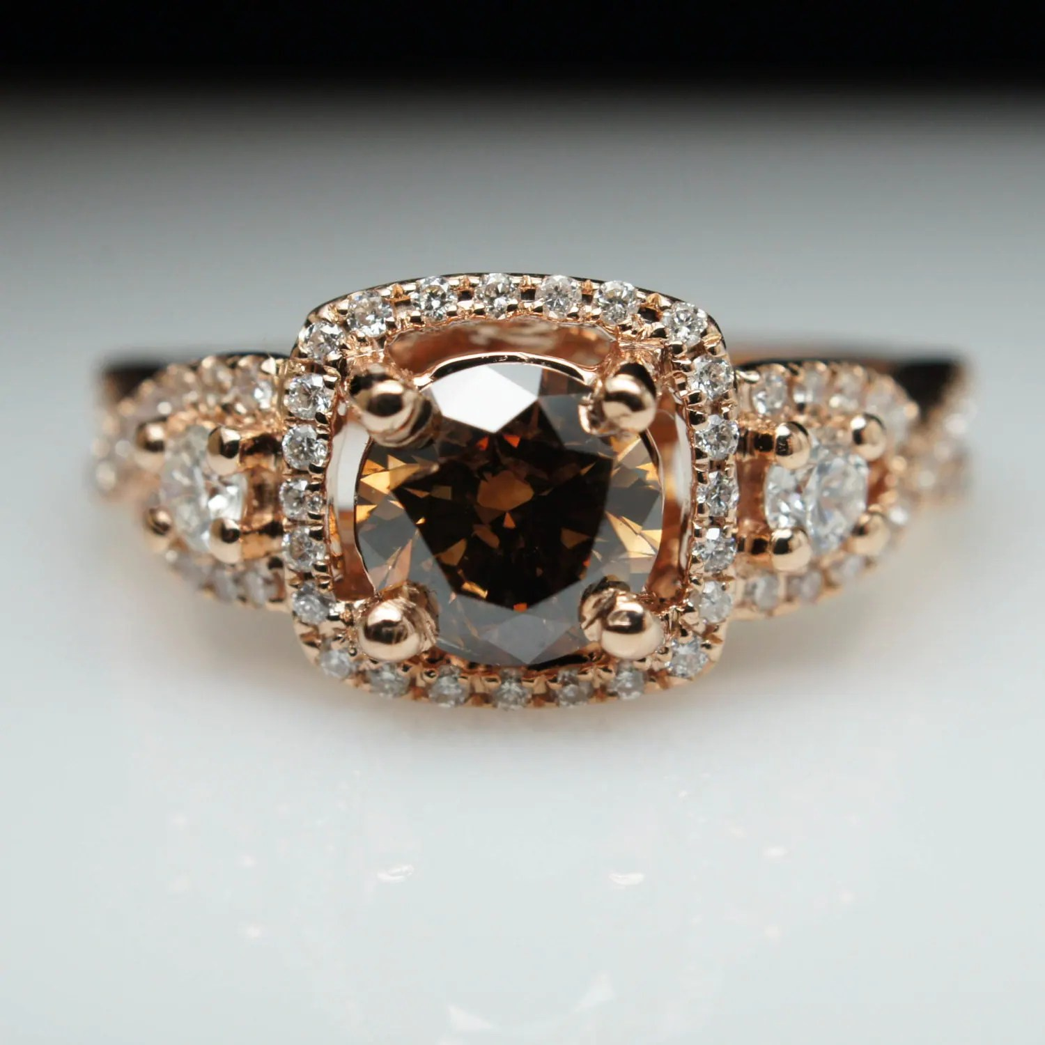 129ct Fancy Brown Diamond Three Stone Rose Gold Engagement