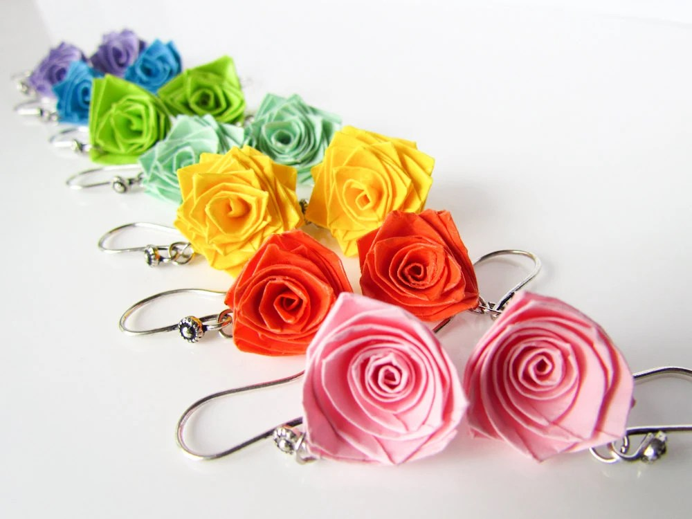 Paper jewelry set � 7 pairs of colourful paper quilled rose earrings combo � First year wedding anniversary gift � Unique valentine gift set - Paperica