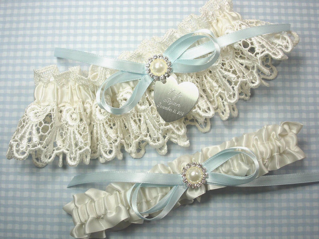 Ivory & Blue Wedding Garter Set Personalized Garters With