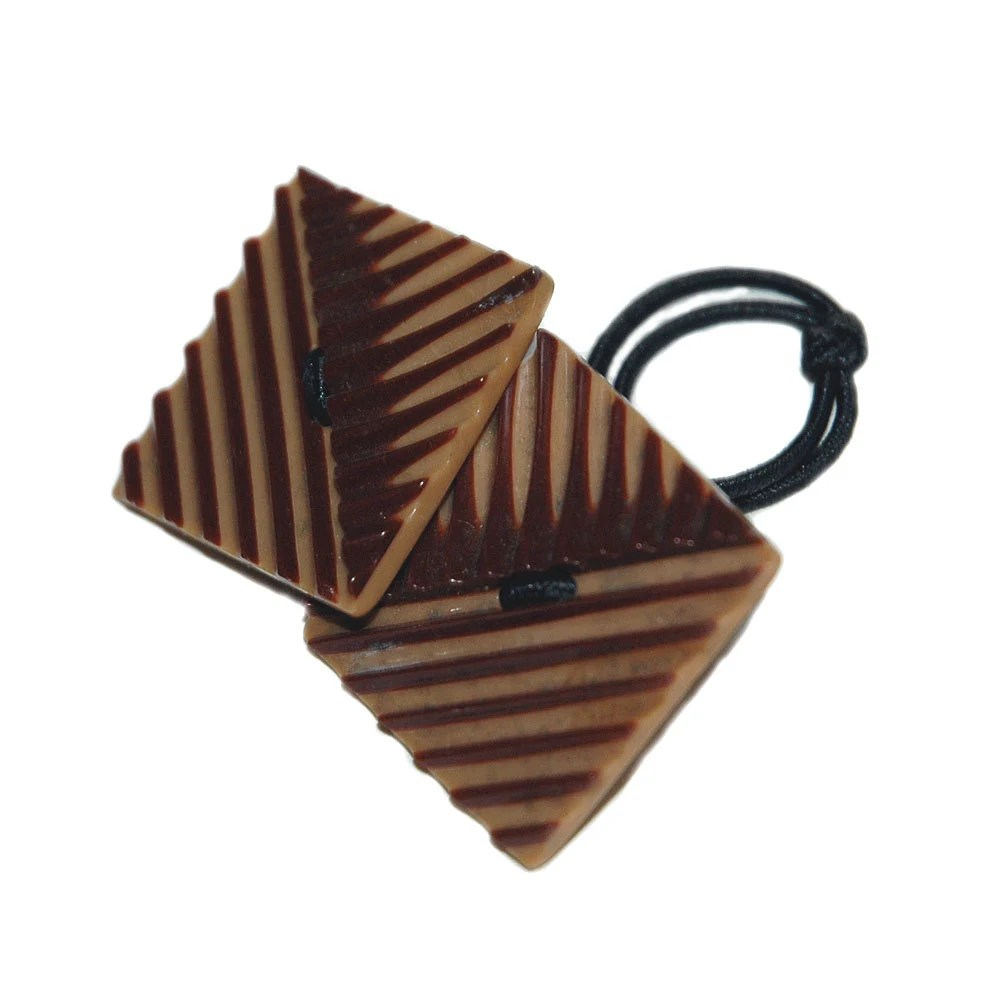 1940's Vintage Wafer Buttons Restyled as Hair Accessory, Brown & Tan Color Ponytail Holder with Geometric Design - TalismanStudios
