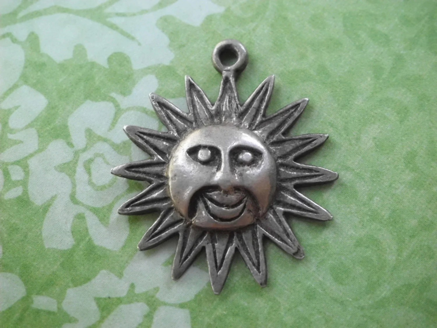 925 Silver Sun Burst Pendant Supply Craft by oneofakindwisconsin