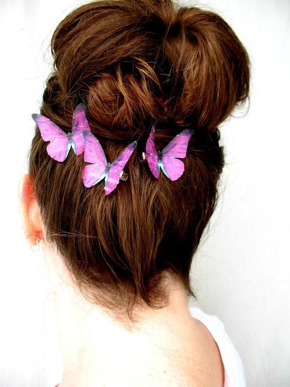 fuchsia sunset . pantone radiant orchid handmade fuchsia purple silk butterfly hair clips . pure dupioni silk . orchid amethyst