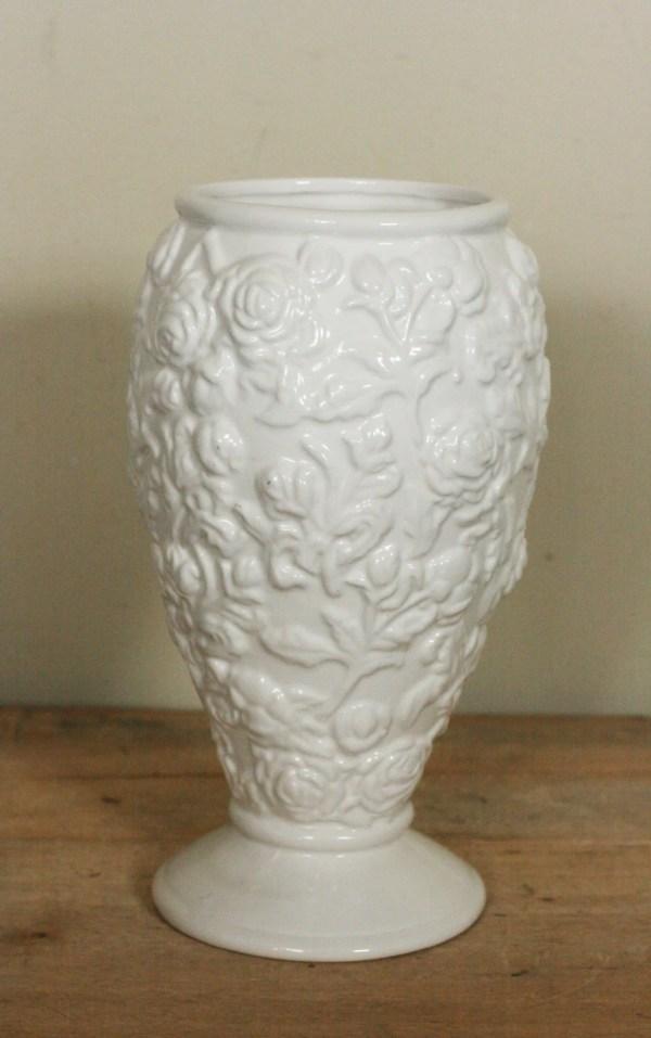 vintage napco vase white ceramic with embossed roses