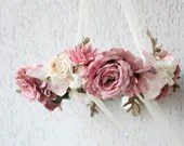 Dusky Pink Floral Chandelier - Floral Wreath Mobile Fairytale Flower wreath/Wedding floral decoration Photo prop Floral arrangement ring