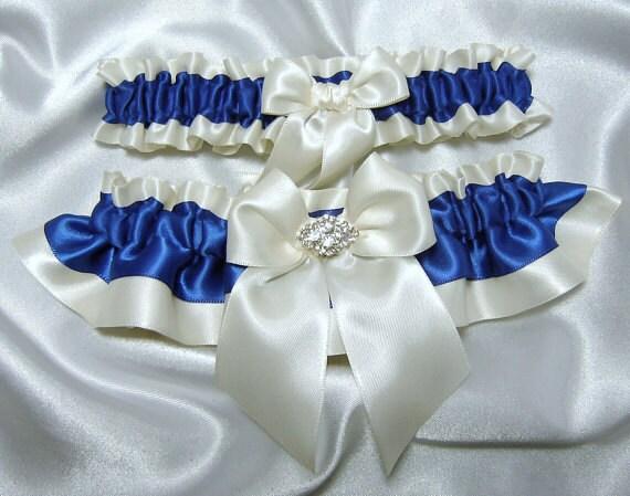 Horizon / Royal Blue Wedding Garter Set W/ By YouNiqueGarters