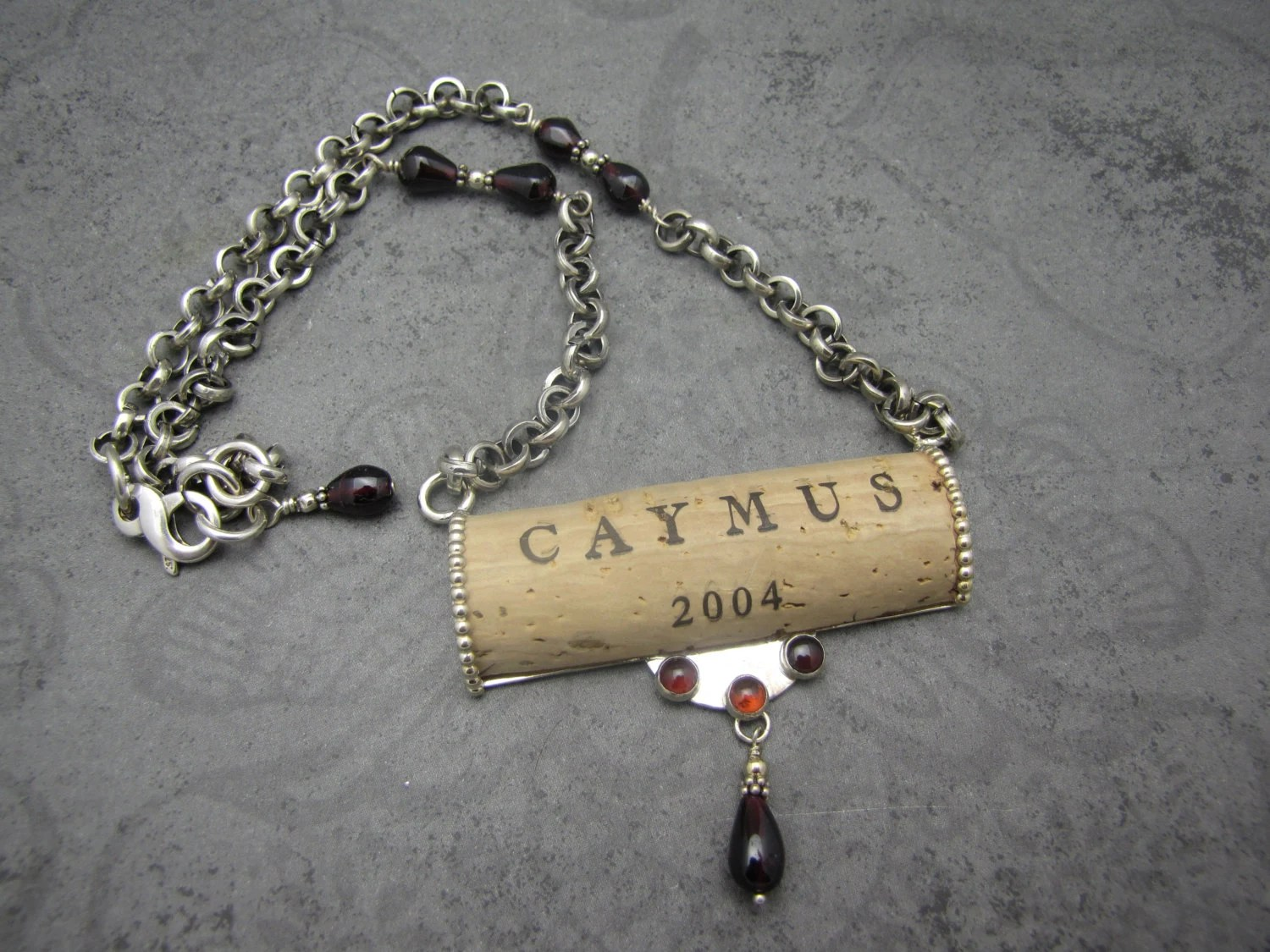 Wine Cork And Sterling Silver Necklace