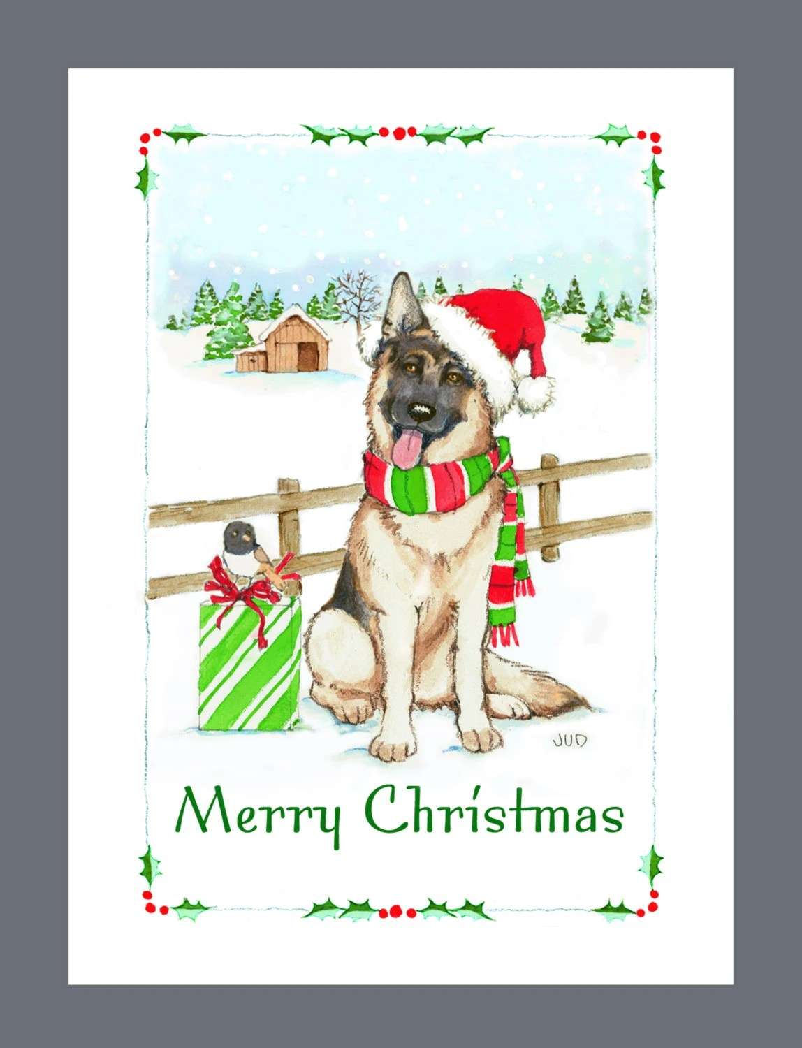 Popular Items For Christmas Dog Card On Etsy