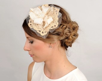 fabric and lace hair piece wedding hair accessory ivory flower headpiece rustic bridal