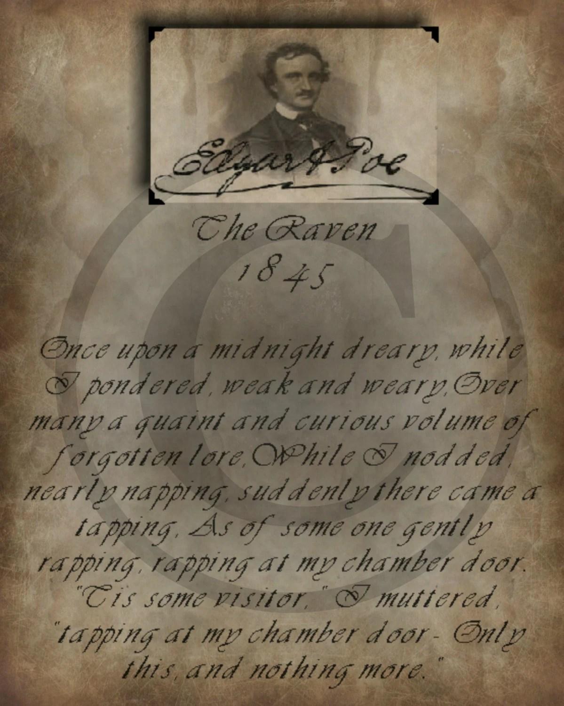 Primitive Vintage Edgar Allan Poe The Raven Poem Label