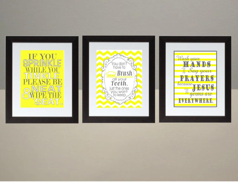 yellow gray chevron bathroom wall art print set poster 8x10