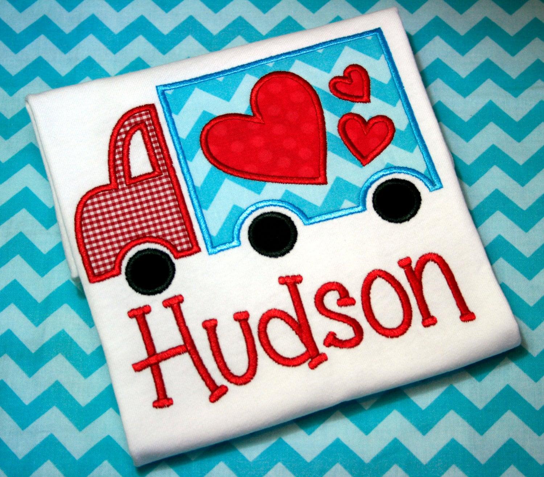 Personalized Boy Valentine Shirt Heart Truck By ChicSunflower