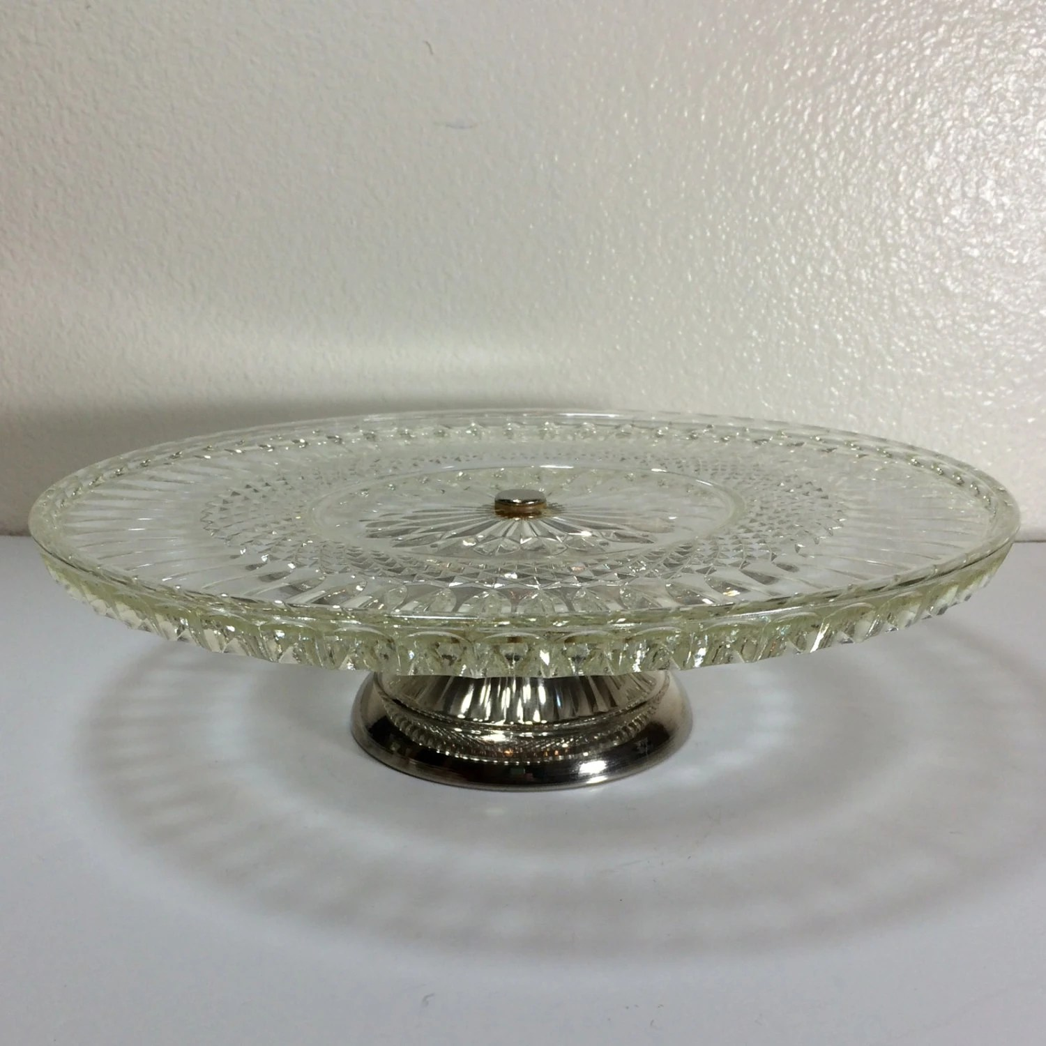 Vintage Crystal Cut Glass Cake Stand With Silver Pedestal