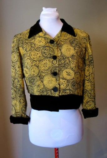 Vintage 1940s Rayon Yellow Paisley Blouse/Jacket
