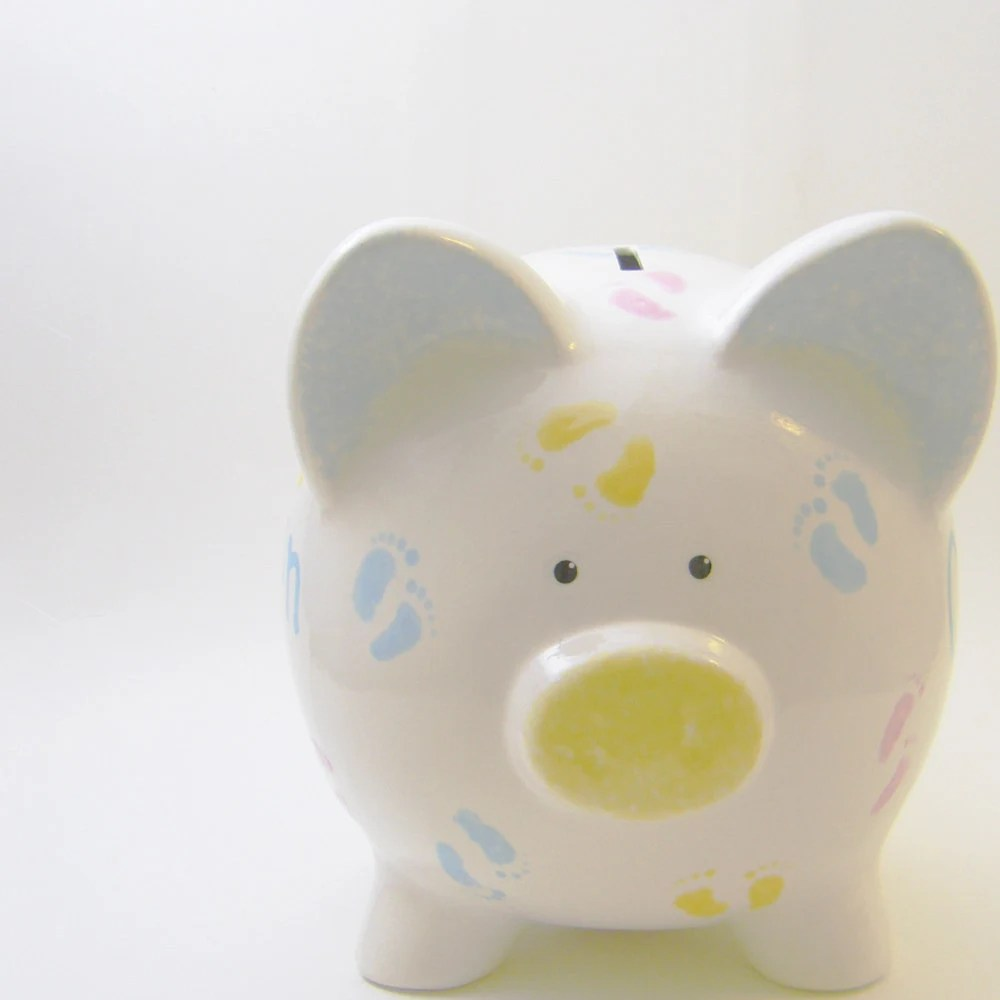 Piggy Toe Piggy Bank - Personalized Piggy Bank - Baby Feet Bank -  Baby Nursery Bank - Ceramic Bank - with hole or NO hole in bottom - ThePigPen