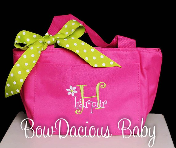 Handmade Back to School Supplies - Personalized Lunch Bag or Tote, Monogrammed Lunch Bag, Monogrammed Lunch Tote, Custom Colors and Name, Boys or Girls from Bow Dacious Baby