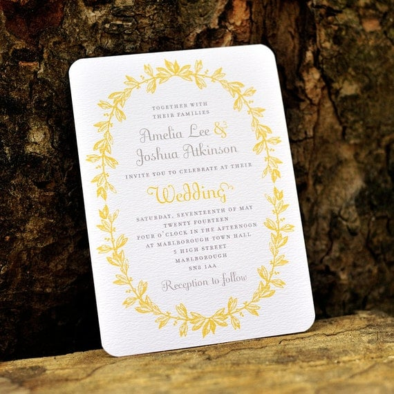 Antique French Wedding Invitation / 'Vintage Wreath' Elegant Rustic Wedding Invite / Yellow Grey Gray / Custom Colors Available / ONE SAMPLE by twoforjoypaper