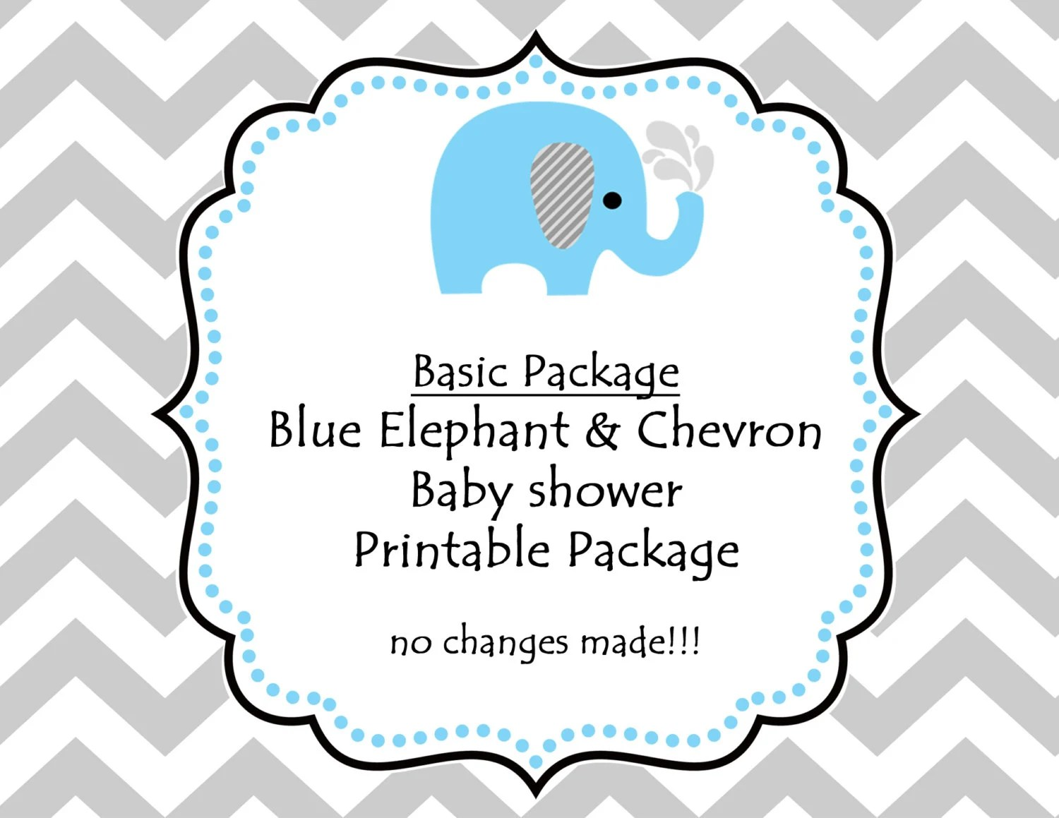Instant Downloadintable Blue Elephant Baby Shower Party