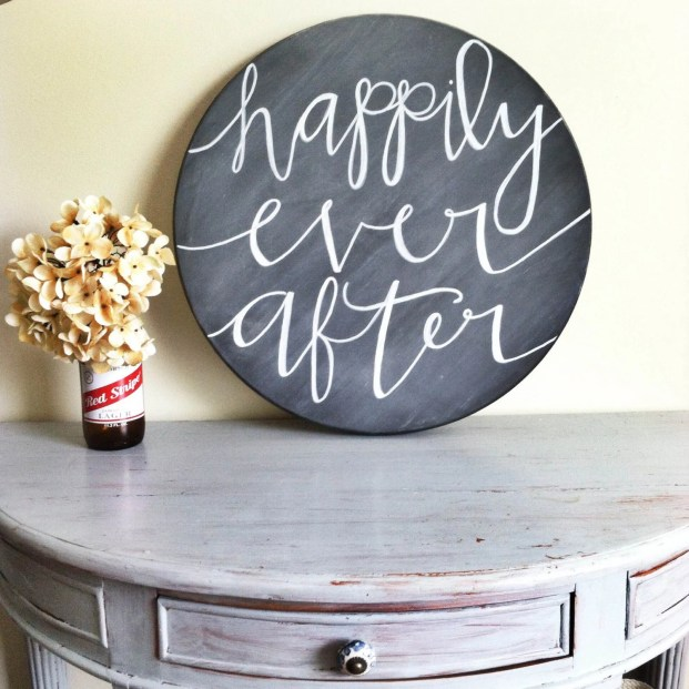 "17.5"" Diameter, Wood Sign, Hand Lettered, happily ever after"