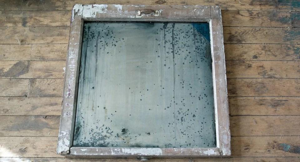 Distressed Silver Mirror Antiqued Silver Window Frame Mirror