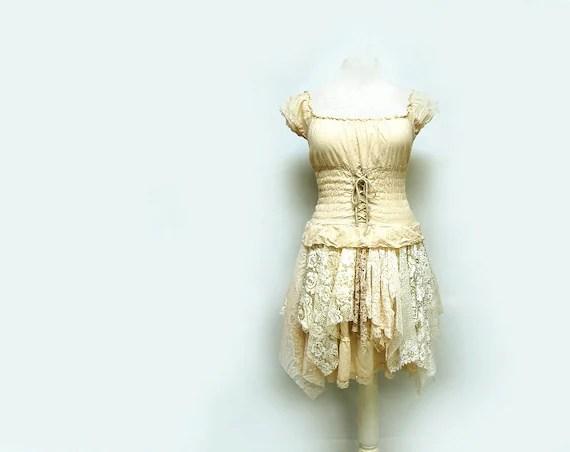 Steampunk Wedding Dress Peasant Dress Off By PrimitiveFringe
